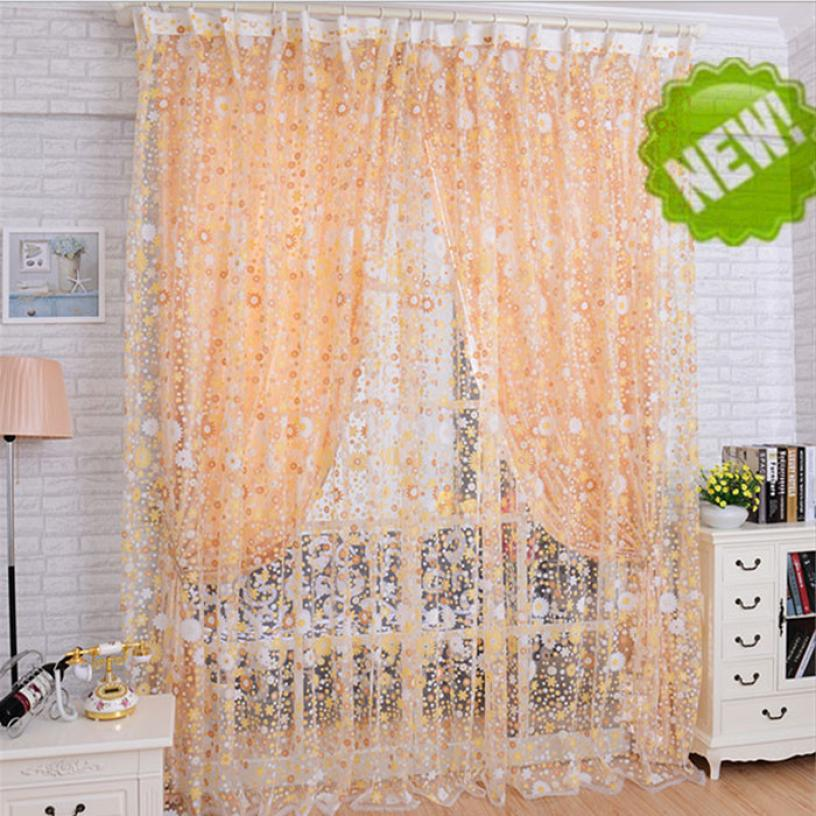 HOMEGD Print Floral Voile Door Sheer Window Curtains Room Curtain Divider 100X200CM 18Apr6 Drop Ship