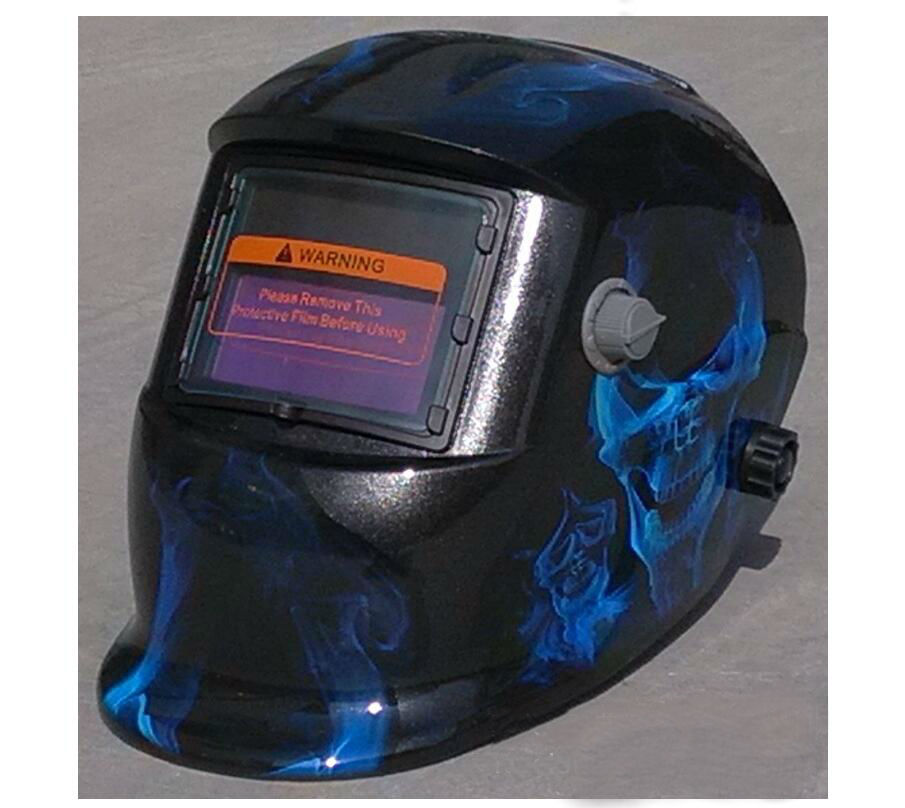 2018 new free shipping blue flame skull head welding cap xiaoyan welding mask welding helmet welding protection Soldering iron newest welding glass anti collision version welding eye protection glass welding helmet pc welding mask
