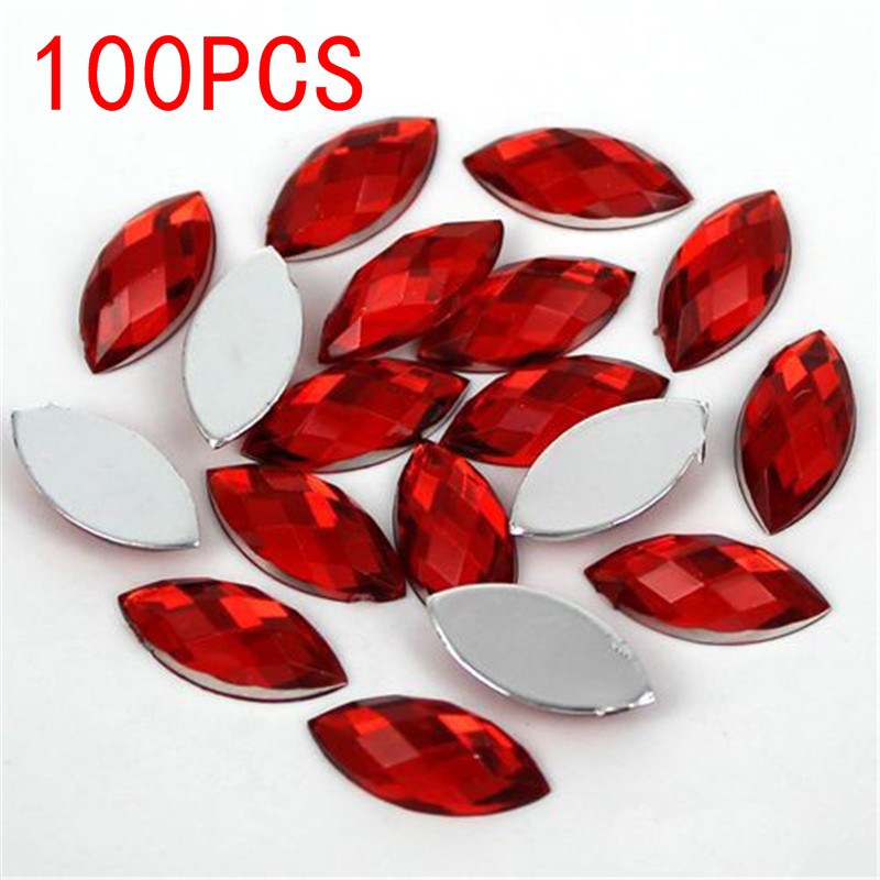 Hot Sale 100Pieces Flat Back Marquise Earth Facets Red Acrylic Horse eye Shape Rhinestone Nail art crystal diamond decoration 12 facets of a crystal