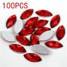 Hot Sale 100Pieces Flat Back Marquise Earth Facets Red Acrylic Horse eye Shape Rhinestone Nail art crystal diamond decoration