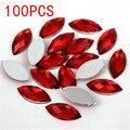 Venda quente 100 Peças de Volta Plana Marquise Cavalo Formato dos olhos de Terra Facetas Red Acrílico Rhinestone Nail art decoração de cristal de diamante