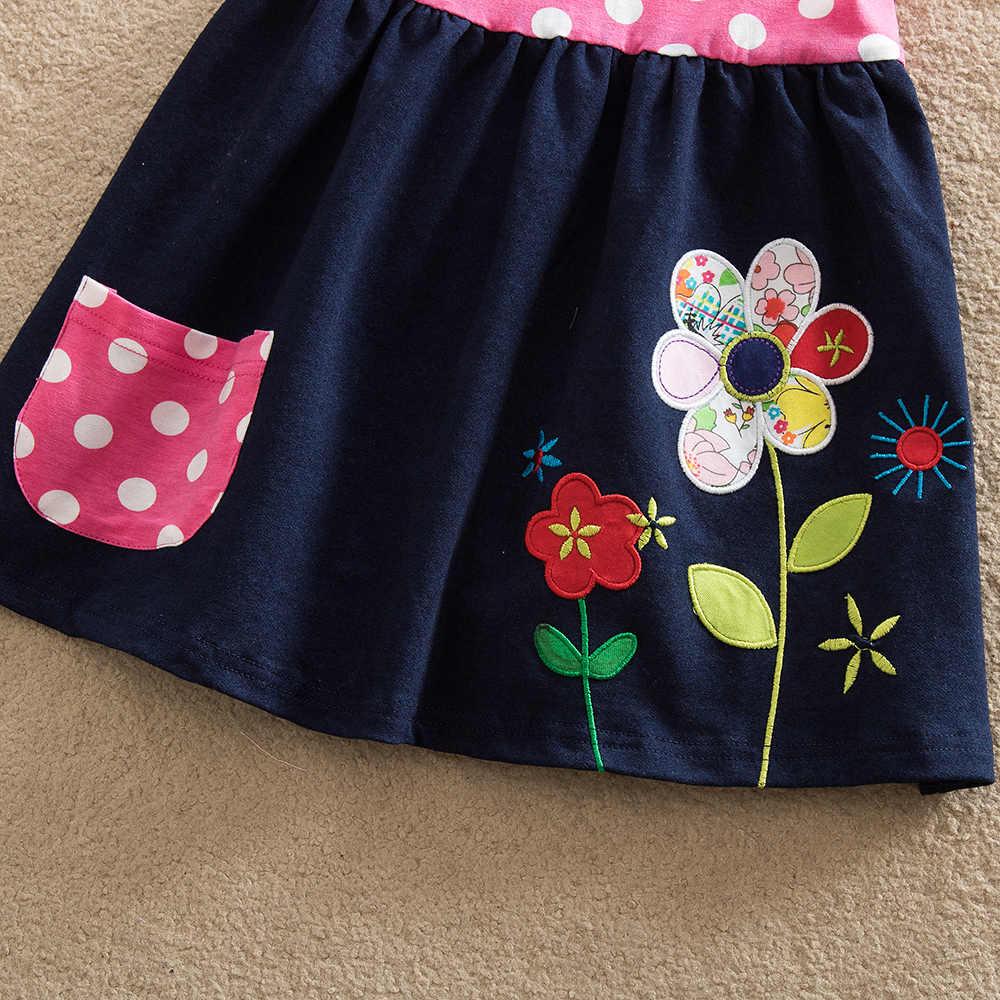VIKITA/платья с короткими рукавами для девочек детское летнее платье с цветочным принтом детская одежда для девочек Meisjes Jurk SH5748