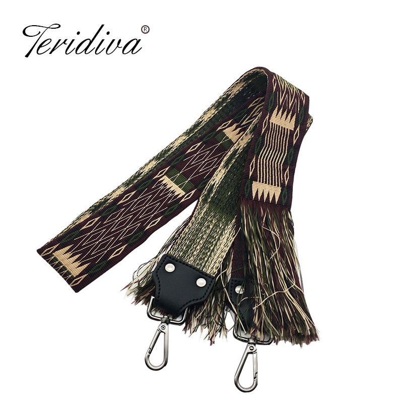 Women Wide Shoulder Strap Bag Accessories Tassel Design Bag Straps Vintage Belt For Handbags Messenger Bags