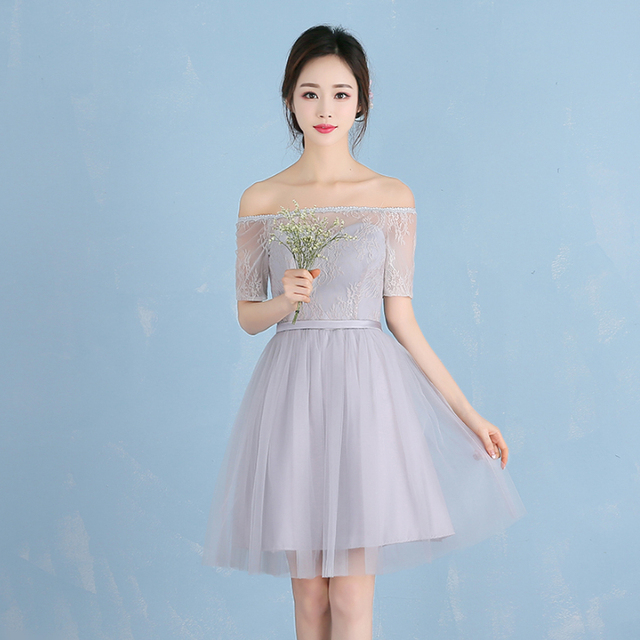 short grey colored sweetheart cute modest bridesmaid dress off ...