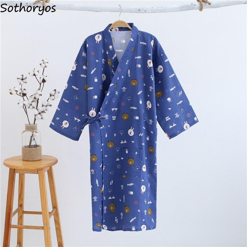 Image 4 - Robes Women Elegant Trendy Lovely Loose Bathrobe Japanese Printed Kimono Robe Simple Daily Sleepwear Womens Breathable StudentRobes   -