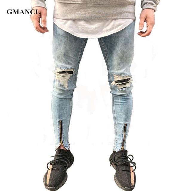 8017108e46d6d8 GMANCL Hip Hop Herren Jeans patches distressed jeans slim fit Dünne bein Zerrissene  jeans Stretch denim