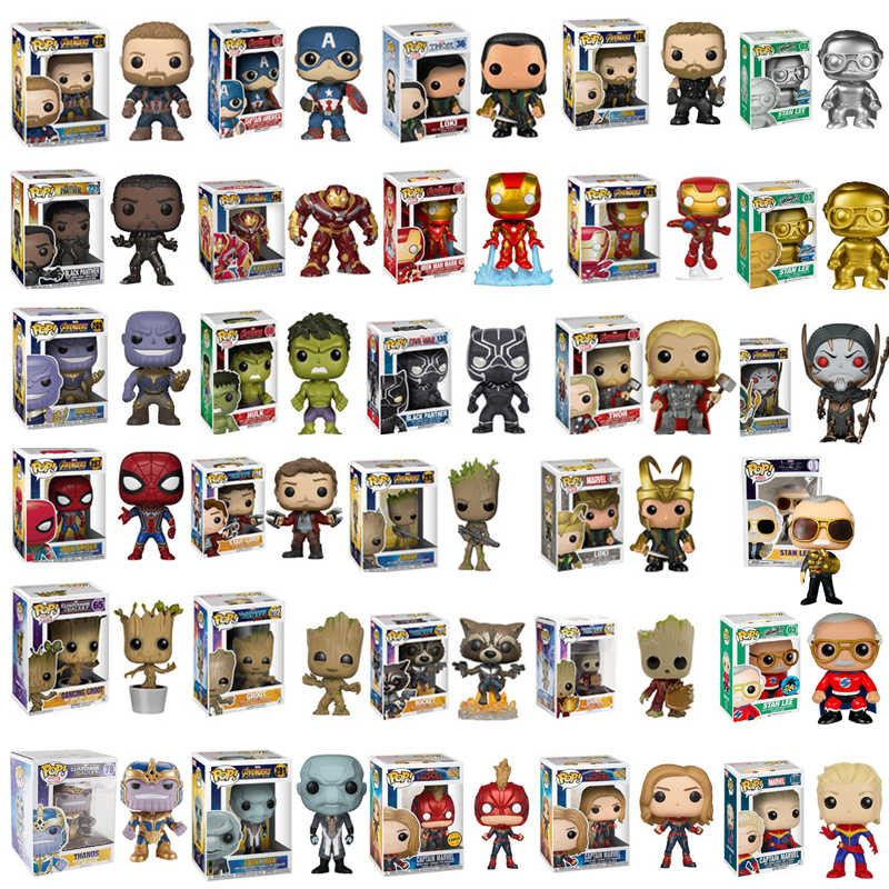 FUNKO POP Marvel Avengers: Endgame THANOS THOR Spider-Man Hulk Stan Lee IRON PVC Action Figure Toys For Children Christmas Gift