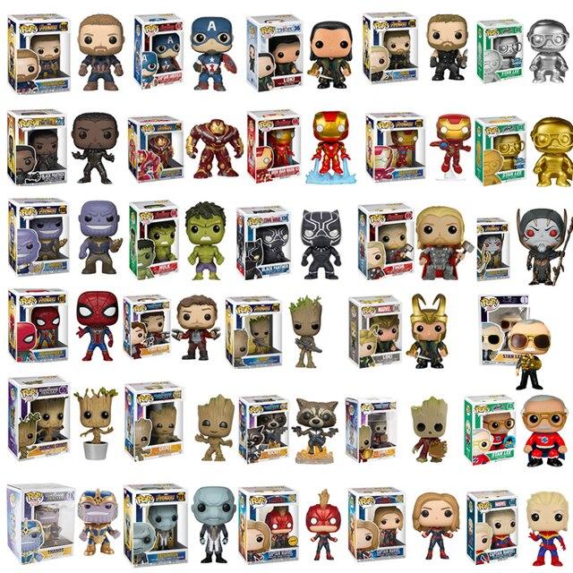 Vingadores Marvel FUNKO POP: endgame THANOS Stan Lee FERRO Hulk THOR Homem-Aranha PVC Action Figure Brinquedos Para Presente de Natal Das Crianças