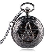 Luxury Nurse Pocket Watch Clock Hour Fob With Chain Supernatural Steampunk Wind Up Pendant Mechanical Pentagram For Men Women