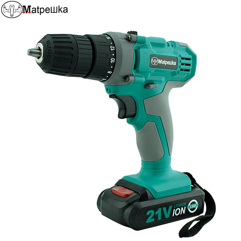 Matpewka Power Tools 21V Rechargeable Electric Screwdriver Cordless Mini Drill Multifunction Double Speed concrete torque Drill 21v power tools double speed hand electric drill cordless drill battery drill electric screwdriver mini drilling 45 n m torque