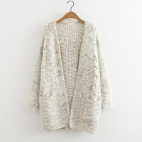 R&H Autumn Winter Sweater Clothes 2018 Fashion Knitting Cardigan Loose Sweaters Warm Thickening Pure Color Sweater R&H 66683