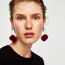 BK 2018 Women Trendy Earrings Big Ear Hook Hair Ball Popular Ornament Female Jewellery Parts Banquet Round