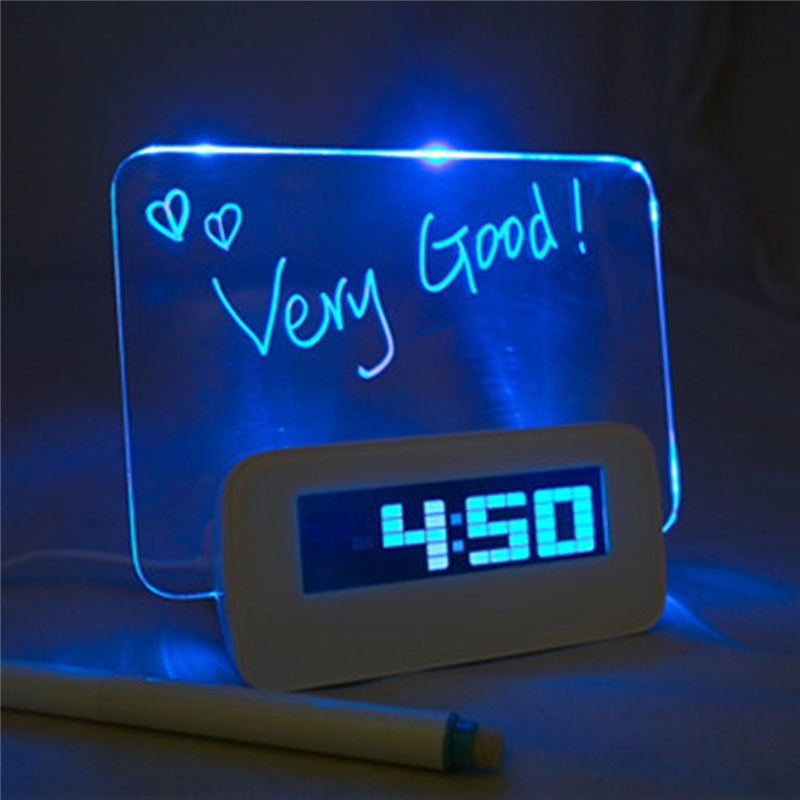 Living Room Bedroom Led Blue Light Electronic Digital Alarm Clock With  Message Board Home Decor Horologe Timekeeper Clocks In Hair Clips U0026 Pins  From Beauty ...