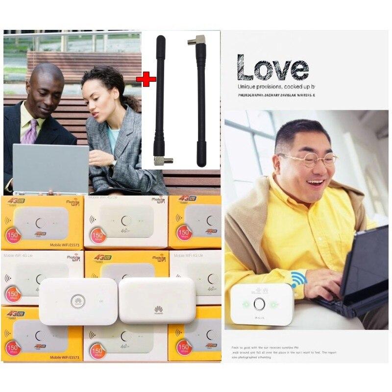 En gros D'origine Unlock LTE FDD 150 Mbps HUAWEI E5573 4G Routeur Avec Sim Fente Pour Carte avec 2 pcs 4g antenne