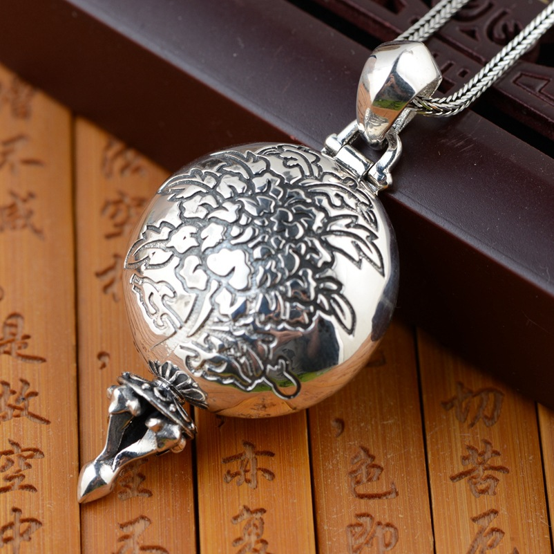 все цены на eight accessories wholesale S925 Sterling Silver Pendant gawu box can be opened six words for both men and women онлайн
