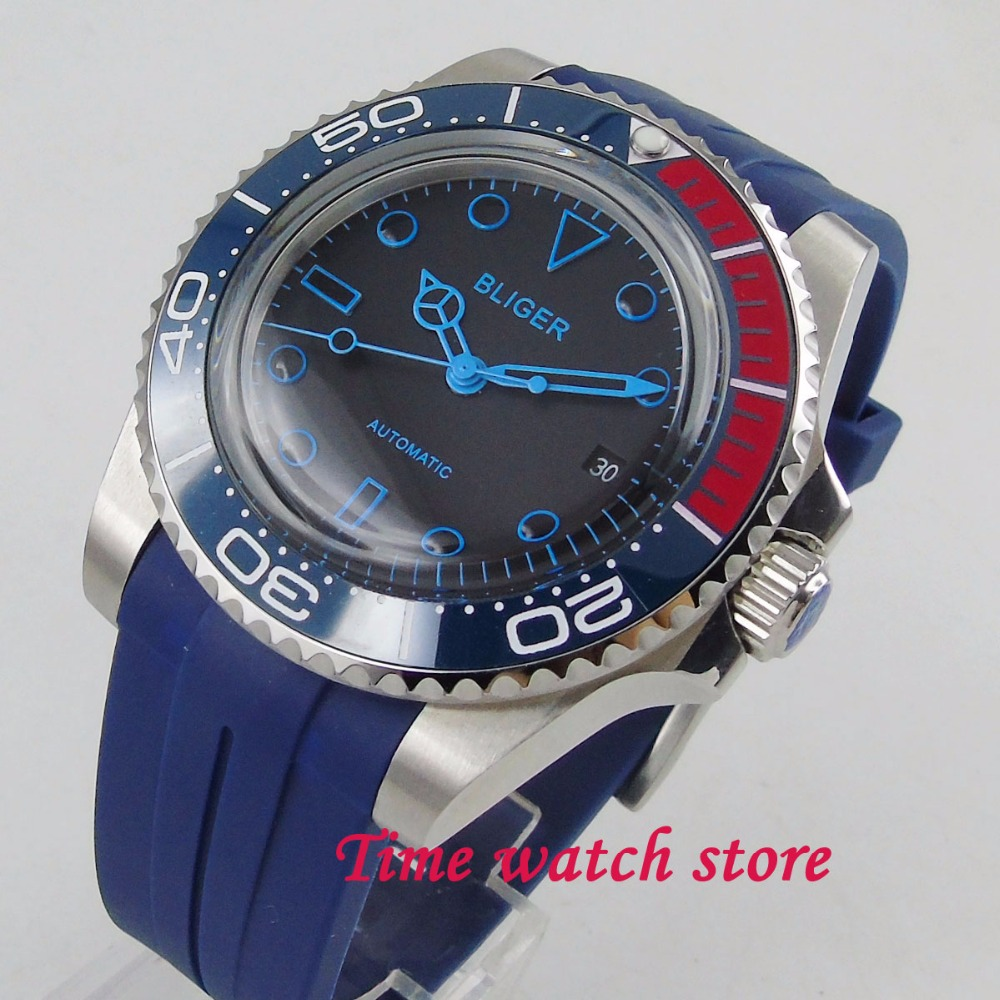 Здесь можно купить  40mm Bliger black dial blue hand ceramic bezel Arched glass 21 jewels MIYOTA Automatic movement men