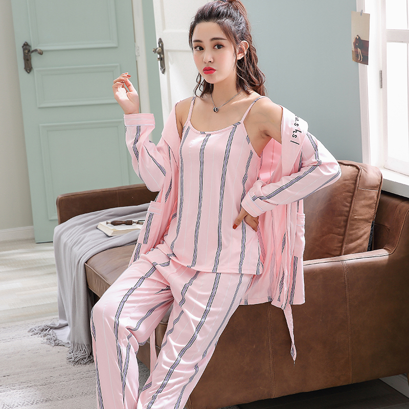 3 Pcs Sexy Short Pijama WAVMIT 2018 Autumn Winter Sexy Pijamas   Set   Women Sleep   Set   Women   Pajama     Sets   Long Pant   Set   Robe Women