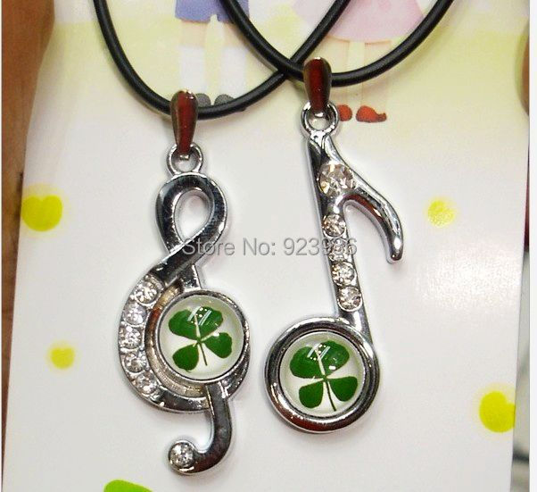St. Patrick's Day 20 pcs Real Four Leaf Clover musical note shape Pendant