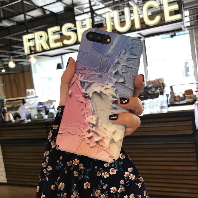 Cartoon Milkshake Icecream Case For iPhone 7 Case For Coque iPhone 6S 7 7 PLus Cover Luxury Retro Phone Cases Hard Cover