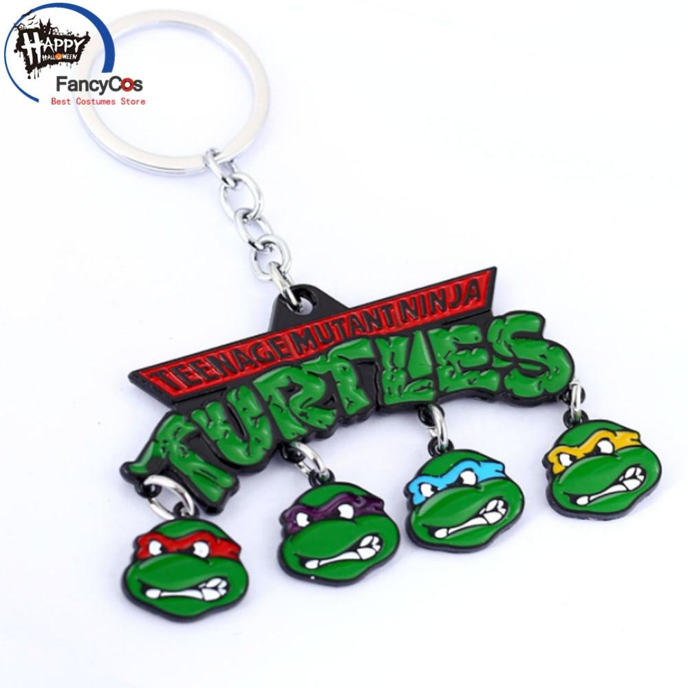 Animation Ninja Turtle Leonardo Da Vinci Raphael logo Alloy Key chain Movie Fancy Jewelry Costume Cosplay Halloween