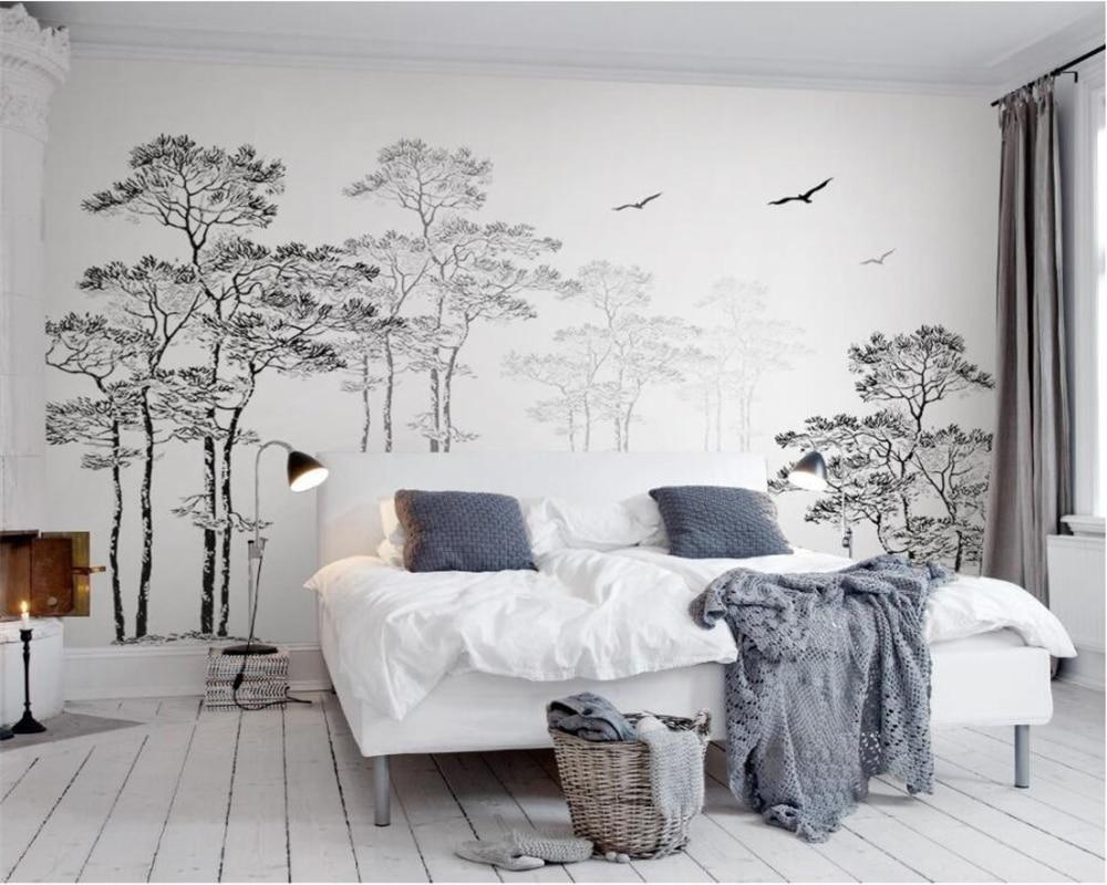 Personalizado Papel De Parede Início Mural Decorativa Black & White Abstrata Esboço Árvore Pássaro Voando TV Fundo papel de parede paredes 3d Beibehang