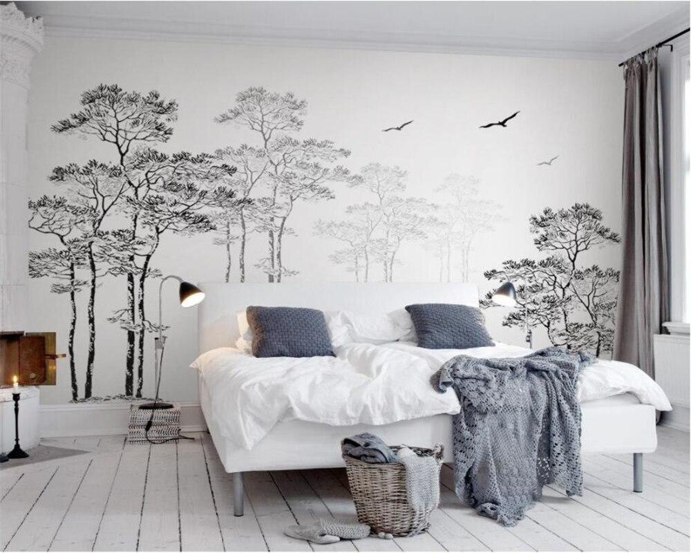 Personalizado papel de parede casa decorativa mural preto & branco esboço abstrato árvore voando pássaro tv fundo paredes 3d papel beibehang