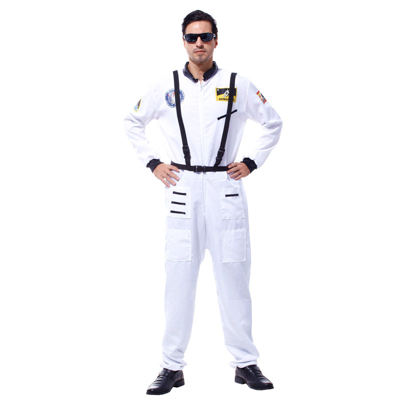 Men Halloween Astronaut uniform Costume Cosmonaut Cosplay aviator Pilot Role play Carnival Purim Christmas parade party dress