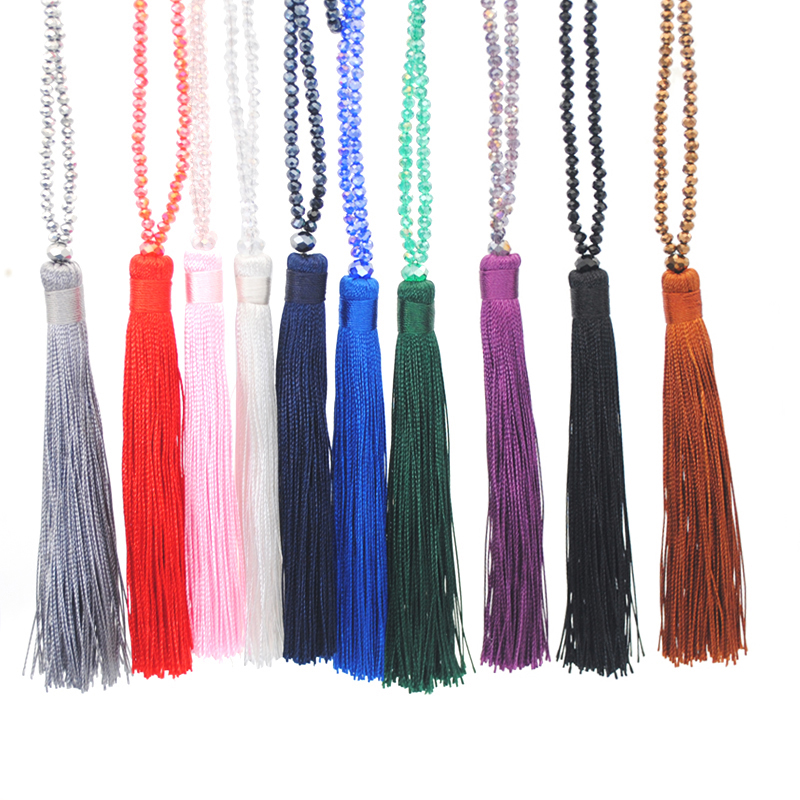 New Fashion Boho Long Fringe Tassel Necklaces Women Collier Glass Beads Crystal Statement Collar Bohemian Jewelry Gifts