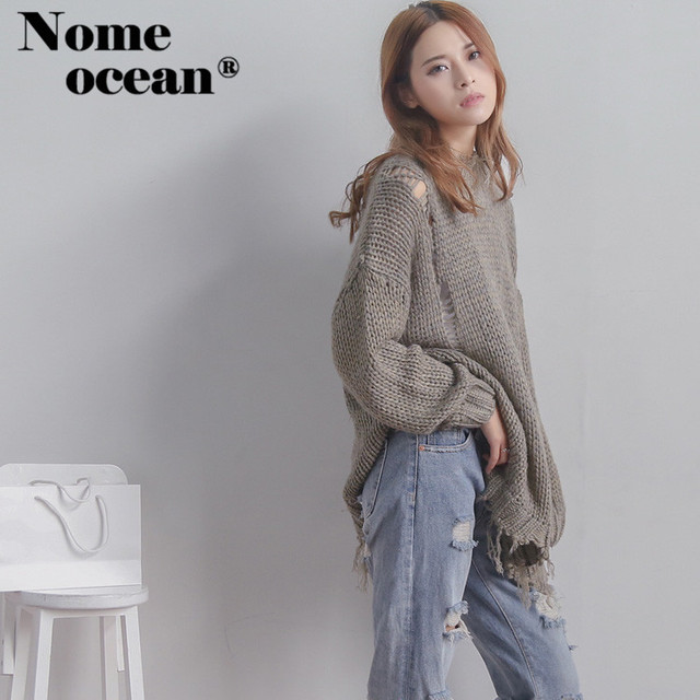 Hollow Out Holes Oversized Sweaters 2017 Autumn and Winter Cut Out ...