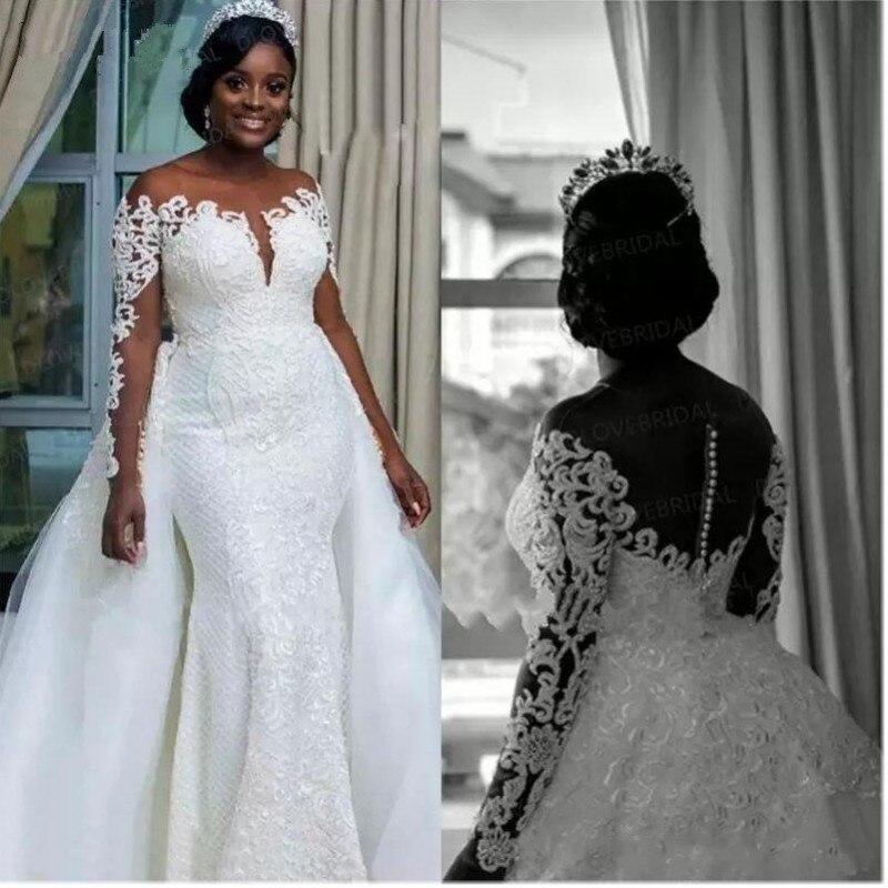 Южноафриканский Свадебные платья Русалочки съемной Overskirt Sheer шеи с открытыми плечами одежда с длинным рукавом 2019 подвенечные свадебные пла