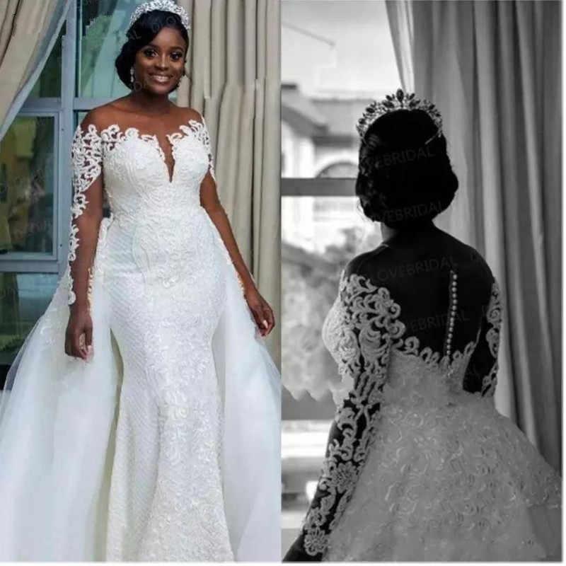 66dc513bc7 South African Mermaid Wedding Dresses Detachable Overskirt Sheer Neck Off  Shoulder Long Sleeves 2019 Bridal wedding