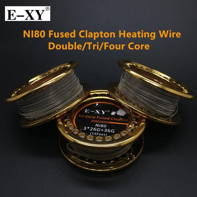 E-XY Heißer NI80 Verschmolzen Clapton Heizdraht 5 mt/rolle Doppel/Tri/Vier Kern Holt Zerstäuber Heizung drähte für RDA RBA DYI Spule