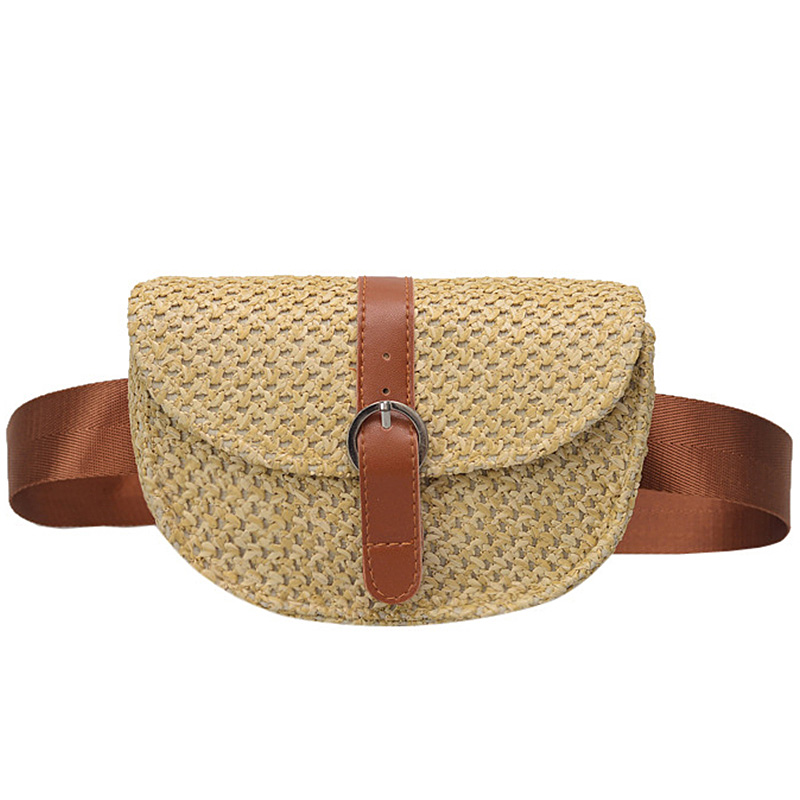 Straw Weave Women's Waist Bag Summer Fashion Beach Fanny Pack Solid Money Belt Bags Ladies Solid Mobile Bag Chest Packs