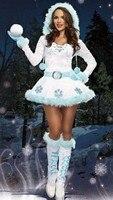 2017 Jaar Kerst Sneeuwvlok Wit Jurk Volwassen Prinses Jurk Cosplay Kostuum Winter Bloem Jurk E3175