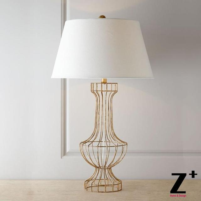 American new classical style barrett open wire lamp table lamp american new classical style barrett open wire lamp table lamp vintage style linen shade iron made greentooth Gallery
