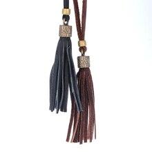 Couro longa borla camisola cadeia colar de presentes para mulheres acessórios de moda de luxo do vintage colar personalizado de jóias 2016
