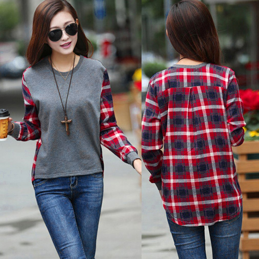 Autumn Women O-Neck Thin Tops Loose Blouses Tops Casual Shirts Stitching Plaid Long Sleeved  Pullover Sweatshirts Shirt 2020