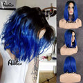 Short Bob Wigs Ombre Blue Haircut Heat Resistant 1B Black/Blue Two Tone Lace Front Bob Wigs 180% Density Synthetic Bob Lace Wigs