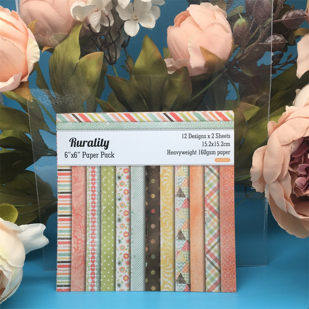 24pcs/Pack 6*6inch Rurality Patterned Paper Pack For Scrapbooking DIY Planner Card Making Journal Project Letter Pad