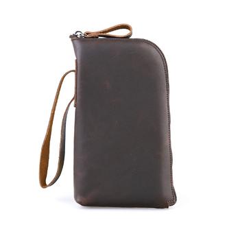 Mężczyźni o dużej pojemności długi telefon organizator portfel skórzane portmonetki męskie z nadgarstkiem tanie i dobre opinie LingJiao Pai Prawdziwej skóry Skóra bydlęca CN (pochodzenie) long 120g Leather Stałe Moda WG2 y11-22 FD27 12cm 21cm