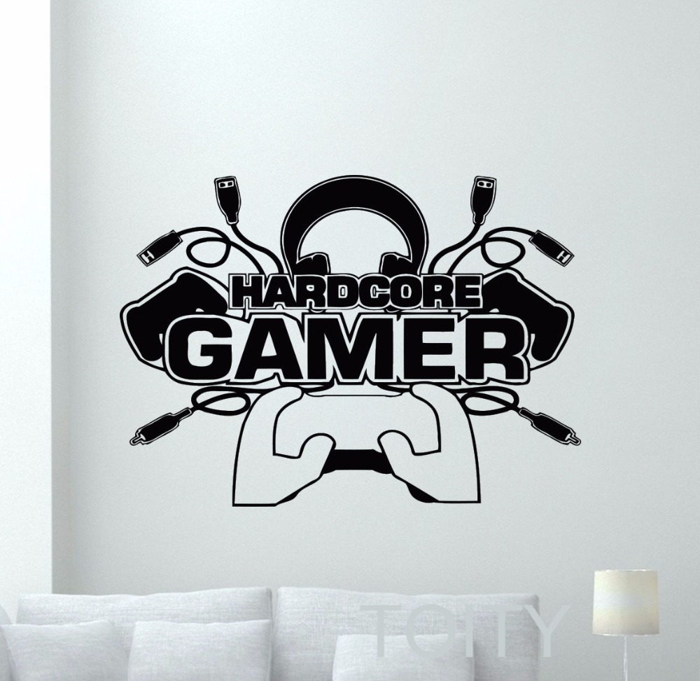 Hardcore Gamer Wall Decal Video Gaming Room Vinyl Sticker Home Interior BedRoom Dorm Club Art Decor Removable Mural image