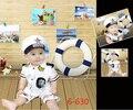 Estilo verão Do Bebê Conjunto Bebê Recém-nascido Foto Traje do Marinheiro da Marinha fotografia Prop Chapéu T-shirt e calça bebê menino terno 3-12 meses