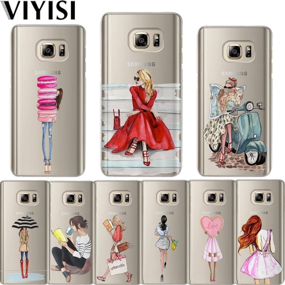 VIYISI Phone case For Samsung Galaxy S8 S9 Plus galaxy a5 2017 Case Paris Girl J7 J5 J3 A3 2015 2016 S6 S7Edge Shell