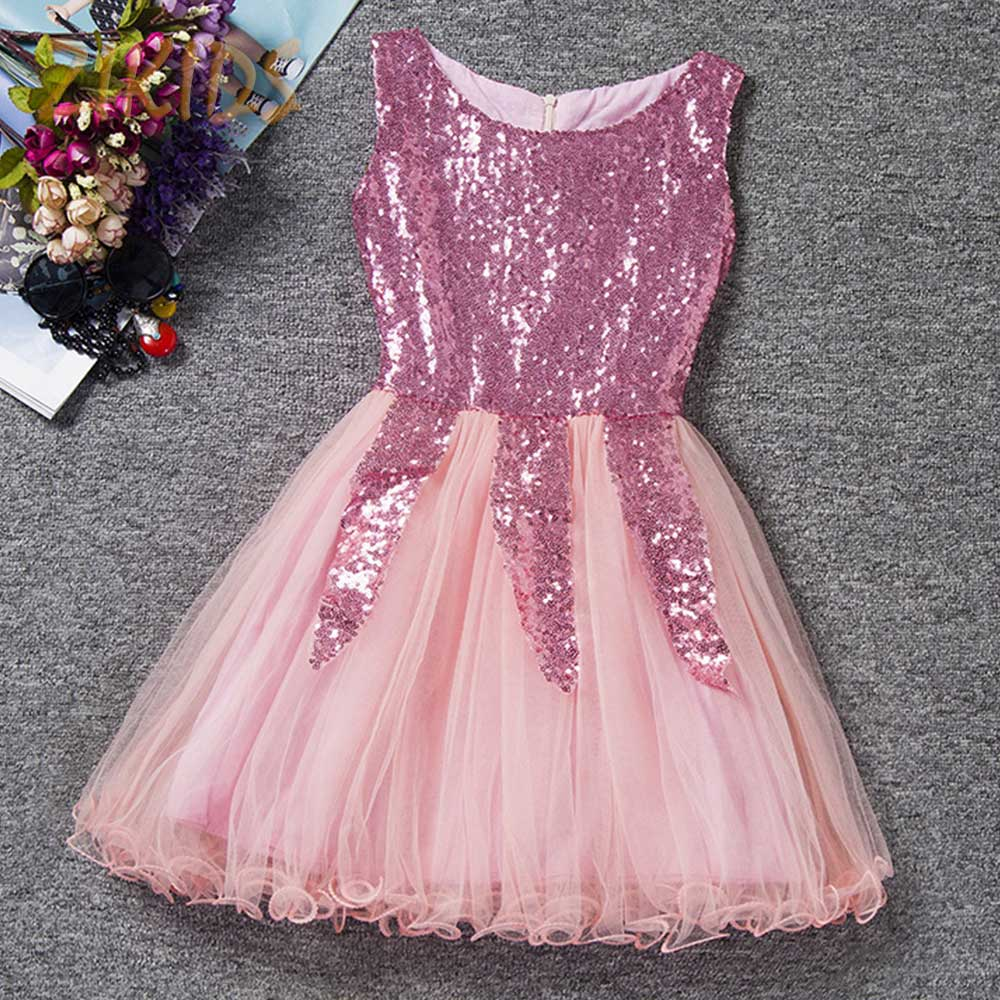 Baby girl pink sequin dress - Lovely Sleeveless Girl Dress Sequined Princess Party Dresses Girls For Wedding Baby Children Clothes 2017 Sale