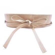 Для женщин мягкая Искусственная кожа широкий с завязкой Обёрточная бумага вокруг талии бохо платье ремень