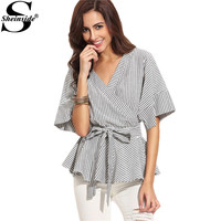 Sheinside Black And White Stripe Bow Wrapped Shirt Women Business Wear Tops Half Sleeve V Neck