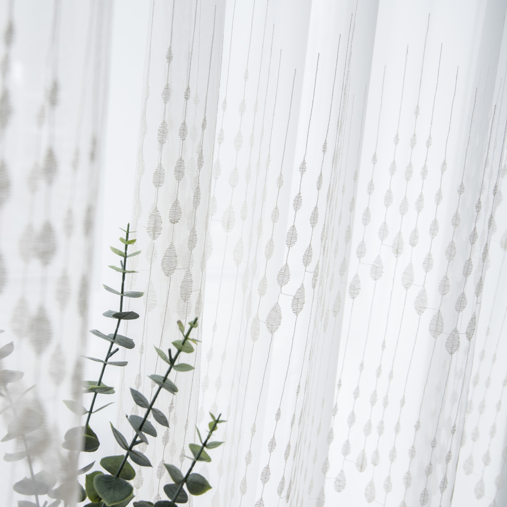 P O F Embroidered Curtain For Living Room Modern Tulle Window Drapes White Sheer For Bedroom Raindrop Design in Curtains from Home Garden