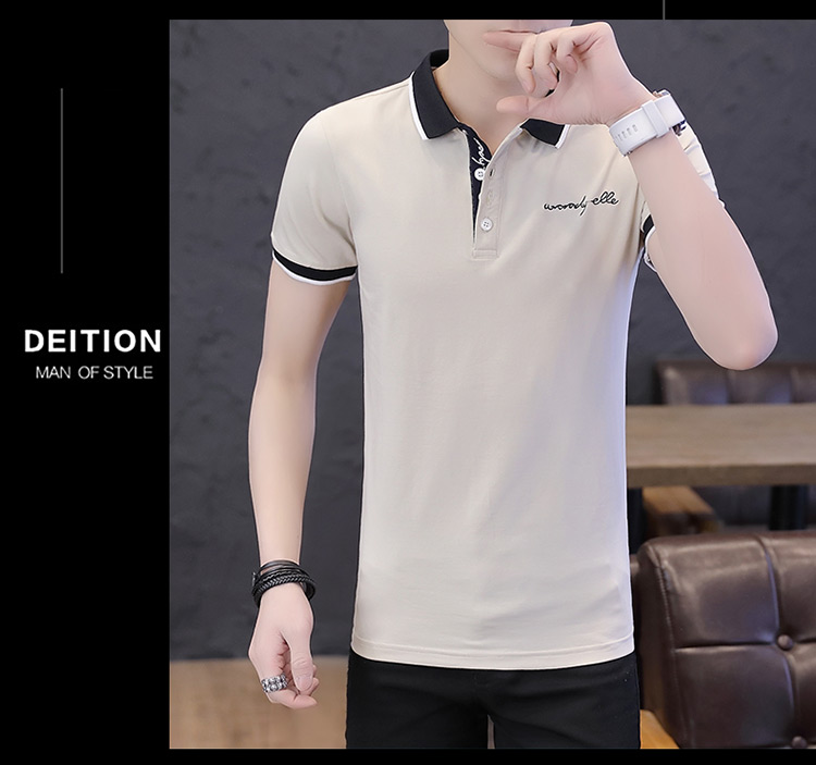 2019 men splicing t-shirts with short sleeves Comfortable in summer youth leisure lapel t-shirts 30
