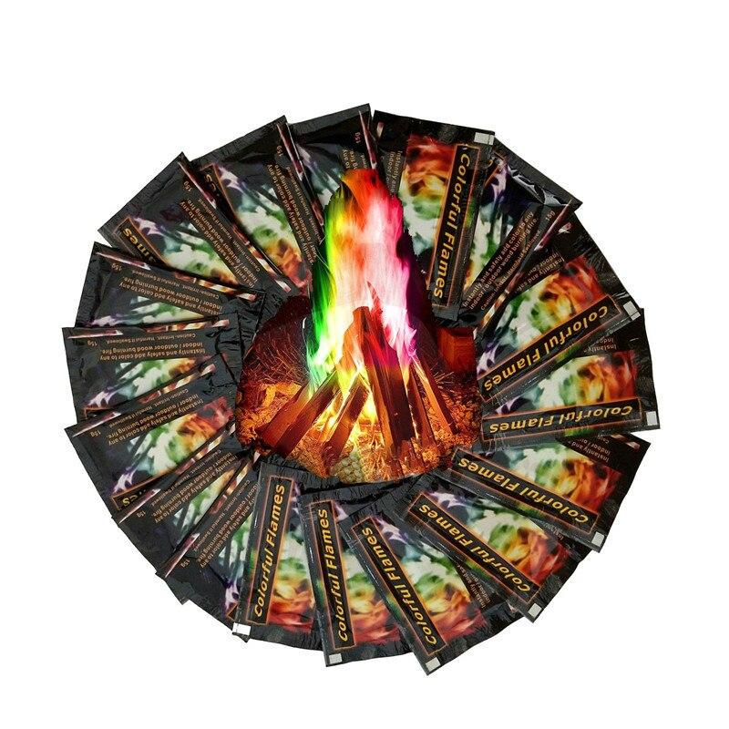 Mystical Fire Magic Tricks Bonfire Camp Fire Twinkling Flames Powder Sachet Pyrotechnics Fireplace Pit Patio Color Toy