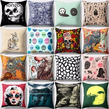 Hongbo 1 Pcs Pillow Case Ghost Skull Cat Women Pattern Cushion Cover for Sofa Chair